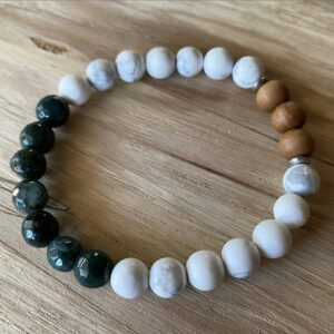 Green Agate and Howlite Diffuser Bracelet
