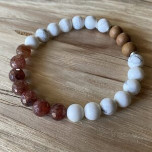 Strawberry Quartz and Howlite Diffuser Bracelet